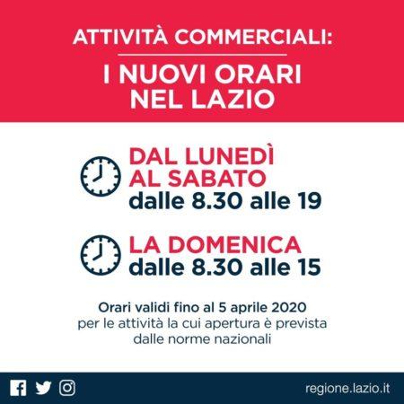 Attività commerciali: i nuovi orari nel Lazio