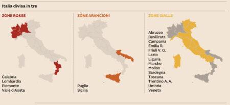 Dpcm in vigore dal 6 novembre al 3 dicembre – Le attività vietate e quelle consentite – L'Italia divisa in zone